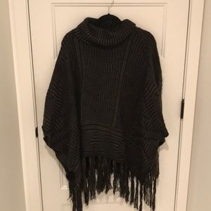 poncho turtle neck sweater